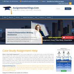 Case Study Assignment Help & Case Study Writing Services