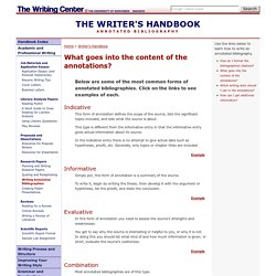 Common Writing Assignments: Writing an Annotated Bibilography