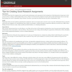 Tips for Creating Good Research Assignments — University of Loui