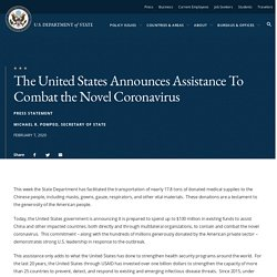 The United States Announces Assistance To Combat the Novel Coronavirus - United States Department of State