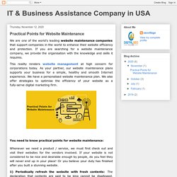 IT & Business Assistance Company in USA: Practical Points for Website Maintenance