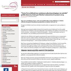 """""""Terra Nova défend une assistance pharmacologique au suicide"""" publié dans La Croix par Marine Lamoureux le 5 mars 2014"""