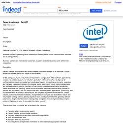 Team Assistant - 749377 Job - Intel - München