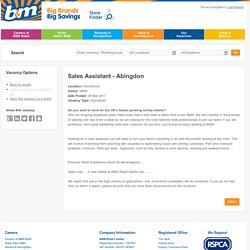 Sales Assistant - Abingdon - B&M Retail Ltd