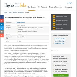 Assistant/Associate Professor of Education
