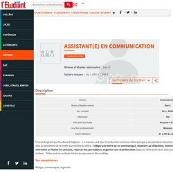 Assistant en communication - La fiche métier de l'Etudiant