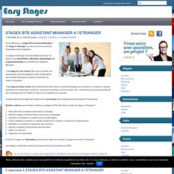 STAGES BTS ASSISTANT MANAGER A l'ETRANGER - Easy StagesEasy Stages