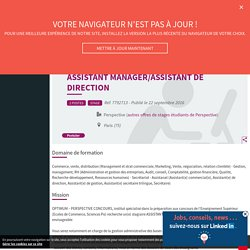 Assistant manager/assistant de direction