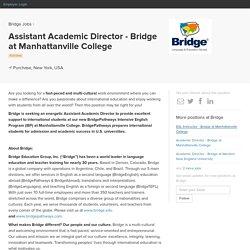Assistant Academic Director - Bridge at Manhattanville College at Bridge