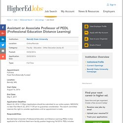 Assistant or Associate Professor of PEDL (Professional Education Distance Learning)
