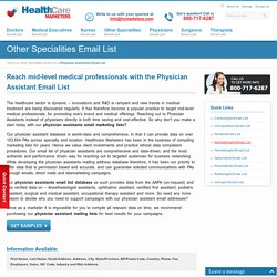 Physician Assistants Email List, Mailing Addresses and Database from Healthcare Marketers