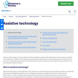 Assistive technology - Alzheimer's Society