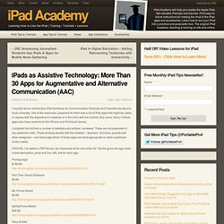 iPads as Assistive Technology: 30+ AAC Apps to Help Children