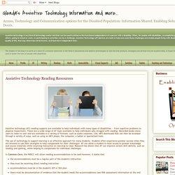 Glenda's Assistive Technology Information and more...: Assistive Technology Reading Resources