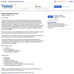 Sales Associate, Full Time Job - Burberry Limited - München