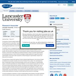 Research Associate at Lancaster University
