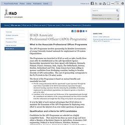 Associate Professional Officer (APO) Programme