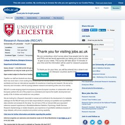 Research Associate (RECAP) at University of Leicester