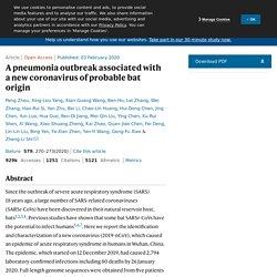 NATURE 03/02/20 A pneumonia outbreak associated with a new coronavirus of probable bat origin