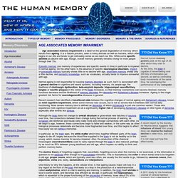 Age Associated Memory Impairment - Memory Disorders - The Human Memory