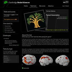 Paired Associates Memory Assessment - Cambridge Brain Sciences