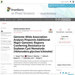 FRONT. PLANT SCI. 10/04/19 Genome-Wide Association Analysis Pinpoints Additional Major Genomic Regions Conferring Resistance to Soybean Cyst Nematode (Heterodera glycines Ichinohe)
