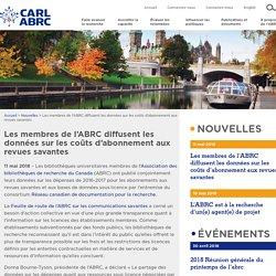 Les membres de l'ABRC diffusent les données sur les coûts d'abonnement aux revues savantes - Association des bibliothèques de recherche du Canada