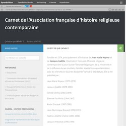 AFHRC. Association française d'histoire religieuse contemporaine