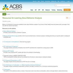 Resources for Learning About Behavior Analysis