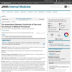 The Association Between Continuity of Care and the Overuse of Medical Procedures