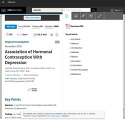 Association of Hormonal Contraception With Depression.
