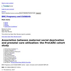 Association between maternal social deprivation and prenatal care utilization: the PreCARE cohort study