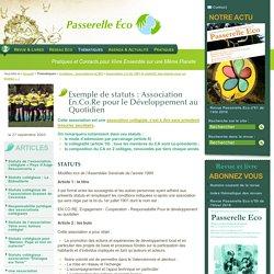 Exemple de statuts : Association En.Co.Re pour le Développement au (...) - Association Loi de 1901 et collectif,