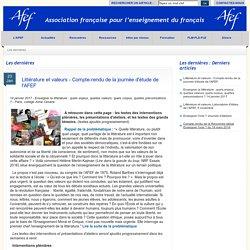 Journée d'études de AFEF, compte-rendu