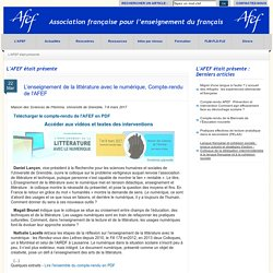 L'enseignement de la littérature avec le numérique : Compte-rendu de l'AFEF
