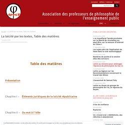 La laïcité par les textes - Association des professeurs de philosophie de l'enseignement public
