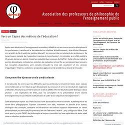 Vers un Capes des métiers de l'éducation? - Association des professeurs de philosophie de l'enseignement public