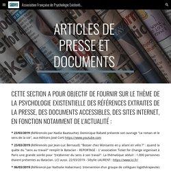 Association Française de Psychologie Existentielle - Articles de presse et documents