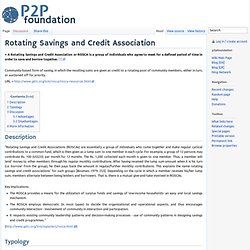Rotating Savings and Credit Association