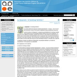 La dyspraxie : le handicap fantôme ! - Association des parents d'élèves du Lycée Franco-Hellénique Eugène DELACROIX