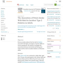 The Association of Potato Intake With Risk for Incident Type 2 Diabetes in Adults