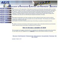 Index. English. Home page. Association of International Librarians and Information Specialists