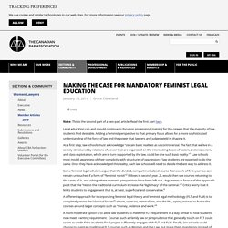 Canadian Bar Association - Making the case for mandatory feminist legal education