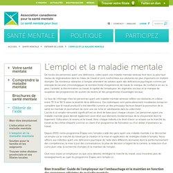 L'emploi et la maladie mentale - Association canadienne pour la santé mentaleAssociation canadienne pour la santé mentale
