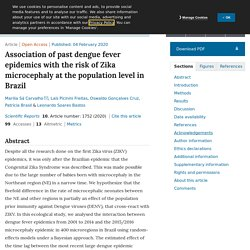 SCIENTIFIC REPORTS 04/02/20 Association of past dengue fever epidemics with the risk of Zika microcephaly at the population level in Brazil