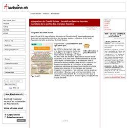 [association la chaîne] occupation du Credit Suisse : breakfree Genève Journée mondiale de la sortie des énergies fossiles
