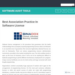Best Association Practice In Software License
