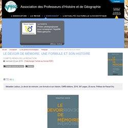 Le devoir de mémoire, une formule et son histoire - Association des Professeurs d'Histoire et de Géographie