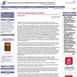 Le FLS en classe d'accueil, en France