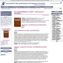 Les Langues Modernes n°3/2014 : « Écrire avec le numérique »